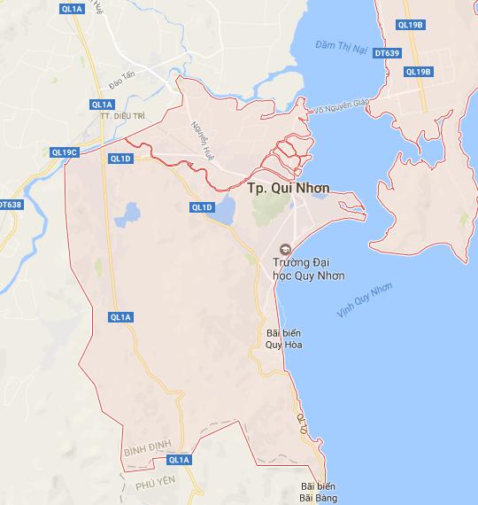 bản đồ tỉnh Bình Định, chuyển phát hỏa tốc từ Hà Nội đi Quy Nhơn