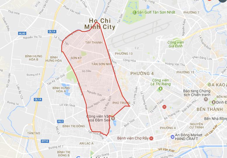 bản đồ Quận Tân Phú, chuyển phát nhanh từ Quận Tân Phú